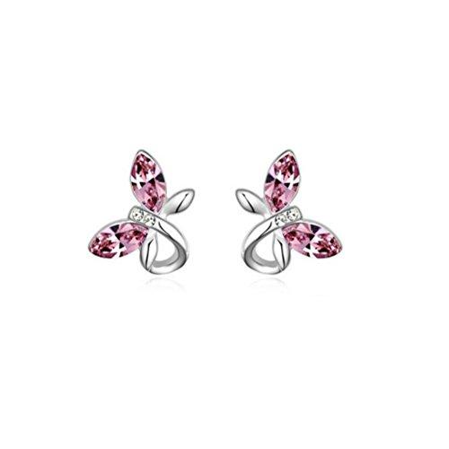 Erica Plaqué Or Sparkling papillon cristal autrichien en forme de Boucles d'oreilles pour les femmes #3