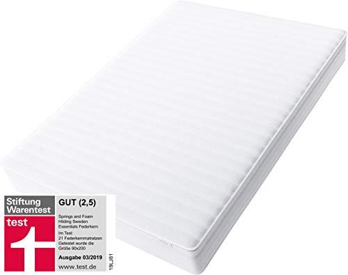 Hilding Sweden Essentials Federkernmatratze in Weiß / Mittelfeste Matratze mit orthopädischem 7-Zonen-Schnitt für alle Schlaftypen (H2-H3) / 200 x 140 cm