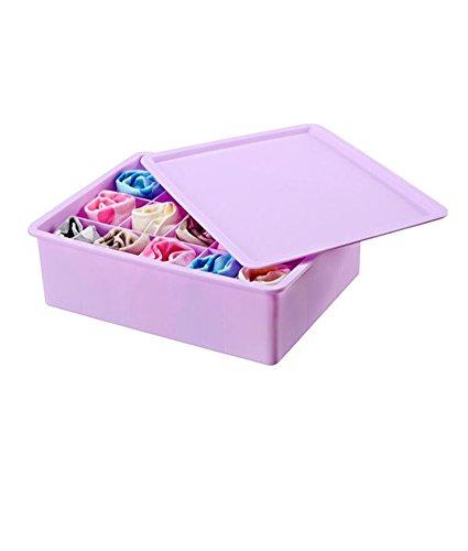 LAAT Plastik Bekleidung Aufbewahrungs Box Haushalt Unterwäsche Aufbewahrungsbox Socken Krawatten Schrank Organizer Schubladen Divider Container Organizer mit Deckel 15 Zelle
