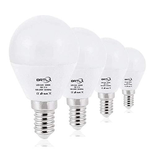 BRTLX E14 LED Glühbirne 5W G45 Kaltweiss 6000K 45W Leuchtmittel Entspricht 220° Abstrahlwinkel 400 Lumen Nicht Dimmbar 4er Pack