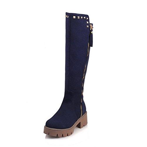 VogueZone009 Damen Reißverschluss Mittler Absatz Nubukleder Eingelegt Hoch-Spitze Stiefel Blau