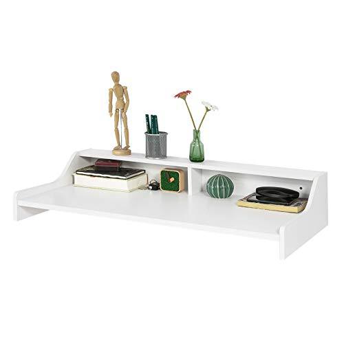 SoBuy® FWT47-W,Scrivania,Tavolo a muro porta PC,Mensola a parete,bianco