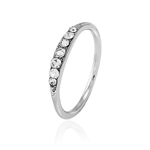 BonTime Exquisite Baguette Diamant Ring Stacking Ring zierliche Ring stapelbar Ring Geschenk Größe 5-12 (11 Größe Ringe Stacking)