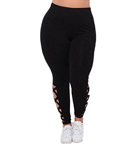 Yoga Hosen, ZEZKT Frauen Sportswear Skinny Yoga Hosen Fitness Fitnessstudio Gamaschen Kleidung Oversize Übergroß (L, Schwarz) (Yoga-hose Besten)