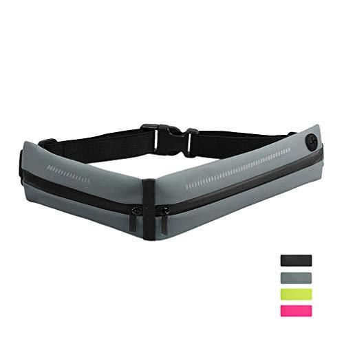 Herren und Damen Gürteltasche, Tragbare Bauchtasche Verstellbarer Gürtel mit Kopfhörerloch Wasserdichter Reißverschluss Reflektierender Streifen, Hüfttasche für Sport/ Marathon/ Laufen/ Reise, Grau