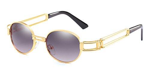 BOZEVON Retro UV400 Herren Doppelte Metall Rahmen Oval Sonnenbrille Schutzbrillen Gold-Hellgrau