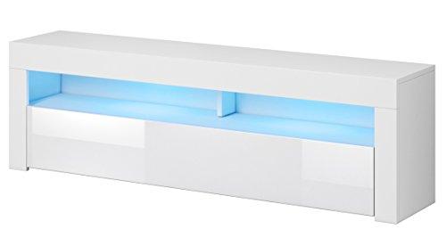 PEGANE Meuble TV Blanc/Blanc Haute Brillance, en Panneaux de Particules, éclairage LED - Dim : 160 x 35 x 50cm