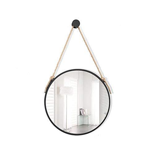 SLIANG Espejo de Maquillaje Baño Europeo Inodoro Redondo Espejo de vanidad Montado en la Pared Espejo de Maquillaje Simple (Color : Hanging Rope, Tamaño : 70 cm de diámetro)