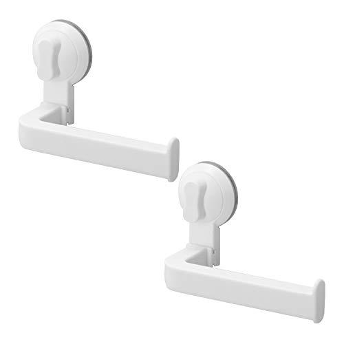 LIKERAINY Toilettenpapierhalter mit Saugnapf Toilettenpapierhalterung Ohne Bohren für Küche und Badzimmer WC Rollenhalter Weiß 2 Stück