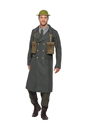 Smiffys 47243M WW2 British Office Kostüm mit Trenchcoat, Herren, Grün, Medium, 96-101,6 cm (Kostüm Trenchcoat Ideen)