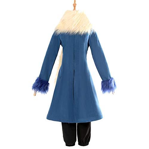 Blauer Kostüm Trenchcoat - YKJ Anime Cosplay Kostüm Blau Trenchcoat Und Hosen Plüsch Schal Party Kostüm Full Set,Full Set-XXL