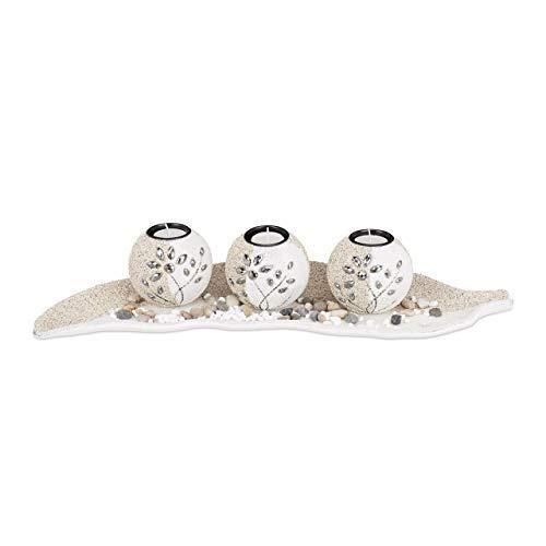 Relaxdays Set Portacandele, Base a Forma di Foglia, con Sabbia e Ciottoli Decorativi, da Tavolo, Beige/Bianco, HxLxP: 9 x 50,5 x 16,5 cm