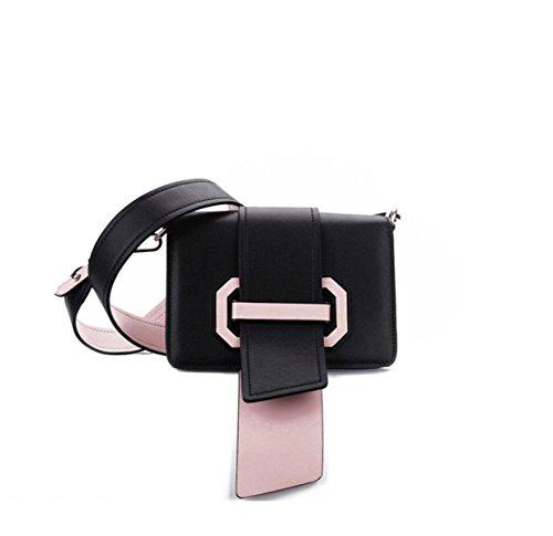 Wer Bin Ich Frau Quadrat Schnalle Bannfarbe Schlagfarbe Plex Band Lederkopfschichtrind Weiblichen Beutel,Black-20 * 14 * 8cm