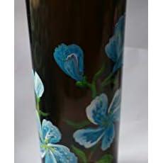 botella decorada,negra con flores azules