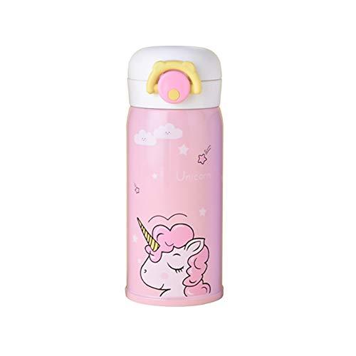 Xiton Taza de la Bebida del Aislante de la Botella de Agua del Acero Inoxidable Taza de Aislamiento del Unicornio Linda 350Ml Rosa 1PC