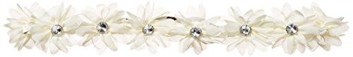 LUX Zubehör Weiß Coachella Stoff Blume Strass Stretch Stirnband Chiffon Floral Head Band