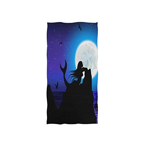 Vinlin Fantasy Moon Meerjungfrau Mikrofaser-Handtuch mit hoher Saugfähigkeit für Strand, Fitnessstudio, Sport, Badetuch