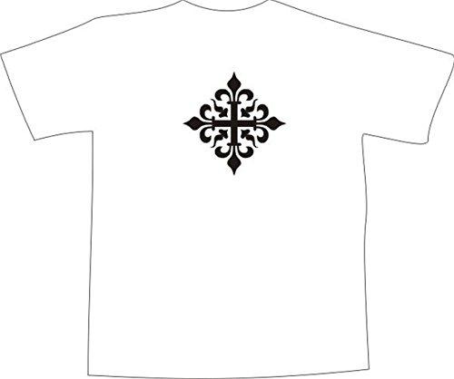 T-Shirt E1085 Schönes T-Shirt mit farbigem Brustaufdruck - Logo / Grafik / Design - abstraktes Pflanzen Ornament mit schönen Verzierungen und einem Kreuz Mehrfarbig