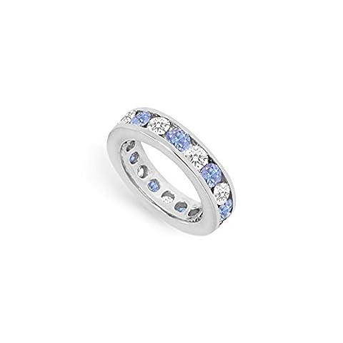 Tanzanite and Diamond Channel-Set Eternity Band 14K White Gold - 3.00 CT TGW