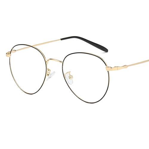 Ysprings Unisex Retro-Runde Brille Rahmen klare Linse Gläser Nicht verschreibungspflichtige Brillen für Frauen (Color : Black-Gold)