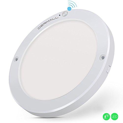 Dermall Sensor Deckenleuchte Deckenlampe Wandleuchte mit Bewegungsmelder, 18W Sensor Innenleuchte mit 3 - 8 m Reichweite, 1300lm in (Kreisförmig / Ø22cm / Weißes Licht)