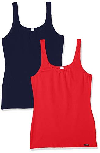 Skiny Damen Advantage Cotton Tank Top 2er Pack, Mehrfarbig (Ribbonred Selection 2115), 42