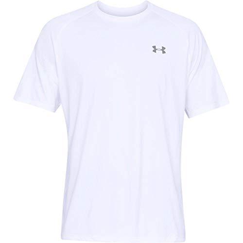 Under Armour Herren UA Tech SS Tee 2.0 Kurzarmshirt, White/Overcast Gray (100), XXL