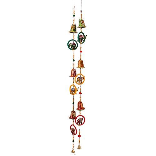 Jaipuri haat Elephant Mirror work Door Hanging Metal Tapestry Artificial Beads - Set of 2