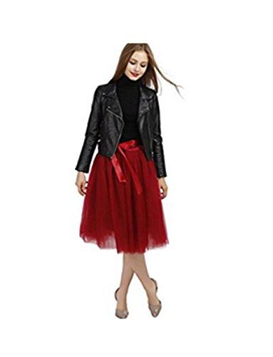 Vickyben Damen Rock Tuturock Tuellrock Petticoat 7 Layer Knierock Faltenrock Unterrock mit Gummizug Rot