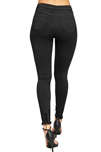 WEARALL - Femmes Effiloché Cheville Affligé Élevé Taille Dames Maigre Jambe Étendue Toile De Jean Jeans - 34-42 Noir