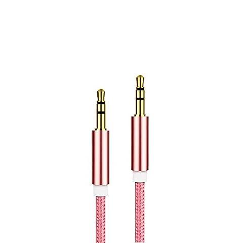 3,5-mm-AUX-Kabel verbesserte MyVigor geflochtene Universal (ROSE GOLD) AUX-Kabel Audio Kabel 1m lang für Apple iPod Aux für iPhone iPad, Beats Kopfhörer, Autoradios, AUX-Kabel für Smartphones, MP3-Player und all Ihre Audio Media Entertainment. Siehe andere Farben (Civic Drum)