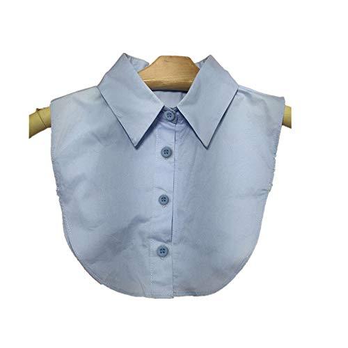 UJUNAOR Frauen Normallack-Knopf Bluse aus Baumwolle Falscher Kragen-Hemd Abnehmbare Kragen(Hellblau,One size)