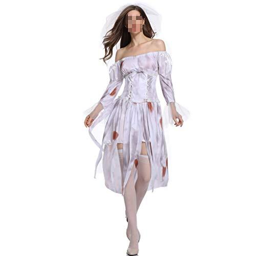Halloween Dress Up Kostüm Ghost Bride Trägerloses Kleid Weibliche Zombie Vampire Cosplay Weißer Rock Party Kostüm (Color : White, Size : - Zombie Piraten Kostüm Weiblich