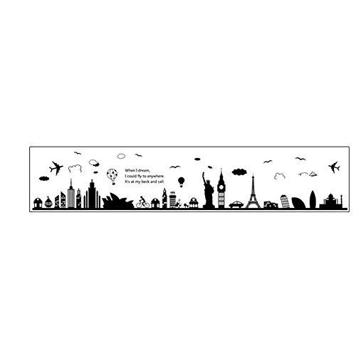 Delidraw PVC Extraíble DIY Pegatinas de Pared Grande Negro Torre Eiffel Sydney Ciudad Griega para la Sala de Estar Dormitorio Decoración del Hogar