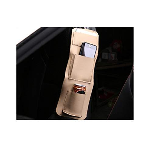 Mondeer Auto Seite Aufbewahrungstasche Organizer Aufhängen Halterung Multifunktionsleder für Führerschein Handy Getränke Trinkbecher 15 x 36 cm (Beige) (Auto-führerschein Halterung)