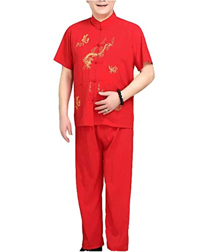 Mengmiao Kung Fu Uniform Tai Chi Kampfkunst Kleidung Wushu Anzug Trainingsanzug Tops Und Hose Rot L - Kung Fu Uniform