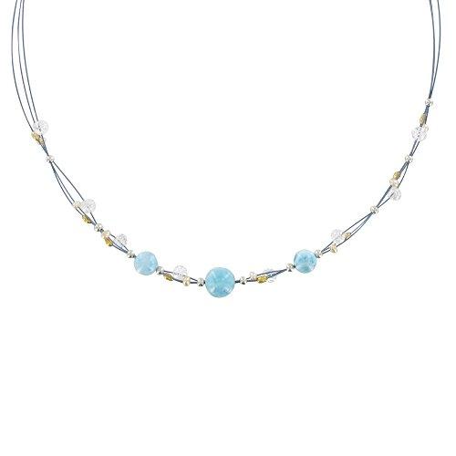 Schmuck Les Poulettes - Halskette blau Kabel Larimar und Bergkristallperlen (Larimar-schmuck)