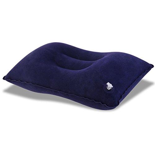 PIXNOR Almohada inflable portátil de viaje almohada para actividades al aire libre (azul oscuro)