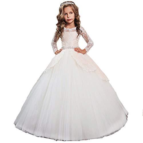 40dd60b4f2e7 LZH Ragazze Vestono Bianchi da Comunione della Festa Nuziale Principessa del  Pizzo Elegante Cerimonia Pageant Costume