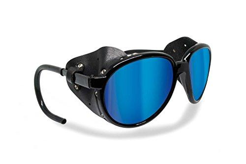 BERTONI Polarisierte Bergbrille Gletscherbrille Bergsteigerbrille Skibrille Trekking mod. Cortina Sonnenbrille by Italy - Glänzend Schwarz (blau verspiegelt - polarisiert)