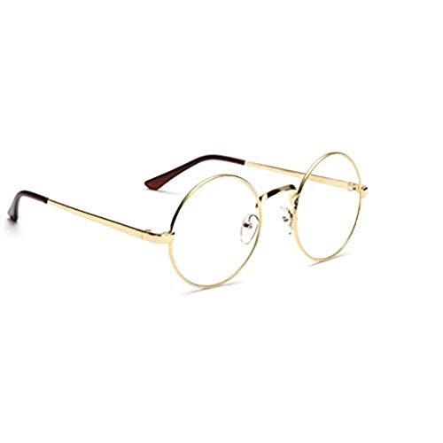 Bodbii Unisex koreanische Weinlese-Brillen-runder Metallrahmen Brille-freies Objektiv-Augen-Glas-Zubehör