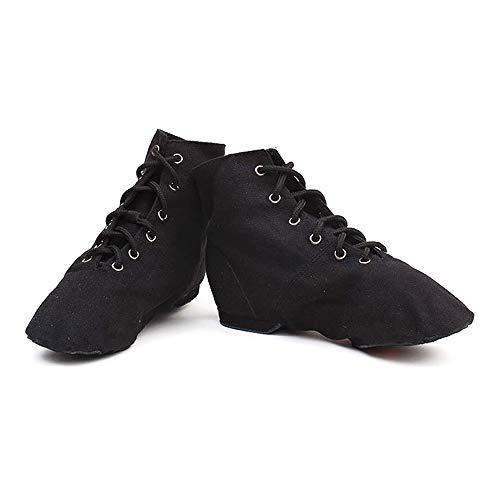 Schwarzer Spitze-up Leinwand Jazztanzschuh mit weicher hohen Schaft und Spaltledern Schuhsohlen für Mädchen, Junge Frauen Männer (35,5 EU)