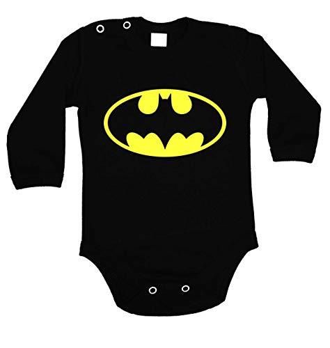 Batman Logo Baby Body Prime Quality Langarm (Schwarz, 62)
