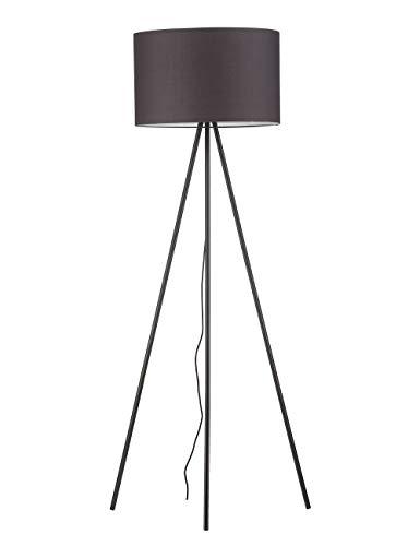 Modernluci Stehlampe Stativ Grau Modern Stehleuchte für das Wohnzimmer, Schlafzimmer Lampen, Zeitnah Tripod Stehlampe Skandinavischer Stil mit Textilschirm ø 45cm Höhe:150cm MEHRWEG - Stativ Stehlampe