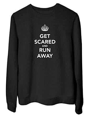 Speed Shirt Rundhals-Sweatshirt fur Frau Schwarz TKC3807 GET Scared and Run Away