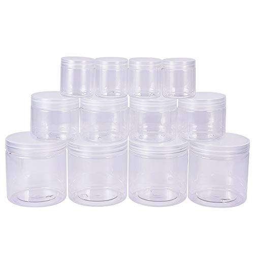 (BENECREAT 12 PACK 2,8/8 / 18oz (80ML / 220ML / 530ML) Schleim Lagerung Gunst Gläser klar leere Weithals-Kunststoff-Behälter mit klaren Deckel für DIY Schleim machen)