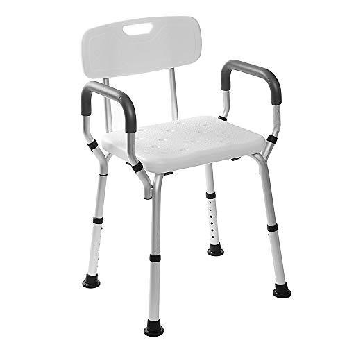HYYDZ Duschsitz Duschstuhl Höhenverstellbar rutschfest Mit Arm- Und Rückenlehne Für Behinderte Senioren Schwangere -