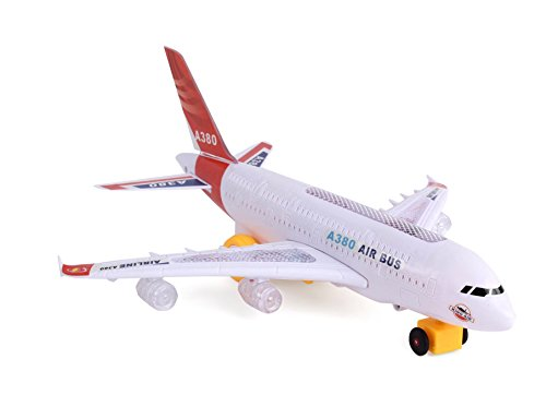 Flipzon Airbus A380 Airplane Toy With Lights Effect & Self Rotating (Multicolor)
