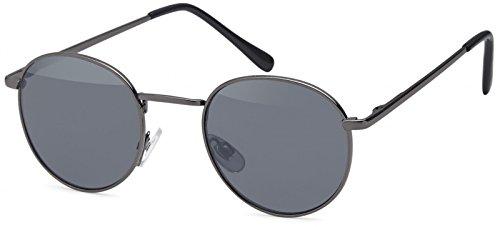 styleBREAKER Sonnenbrille in Panto-Form mit runden Flachgläsern und Metall Bügel, Unisex 09020077, Farbe:Gestell Anthrazit/Glas Grau getönt