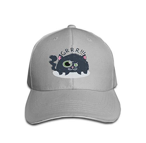 n Sandwich Peaked Cap Adjustable Baseball Hats Cute Monster Kitten Text Print Design Poster Card Label GRR Gray ()